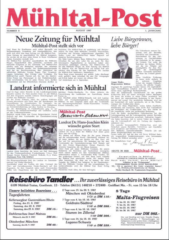 Mühltalpost, die kostenlose lokale Heimatzeitung